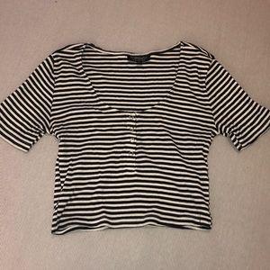 Topshop black/white striped crop top